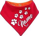 KLEINER FRATZ beidseitiges Multicolor Hunde Wende- Halstuch (Fb: rot-orange) (Gr.3 - HU 36-44 cm) mit dem Namen Ihres Tieres