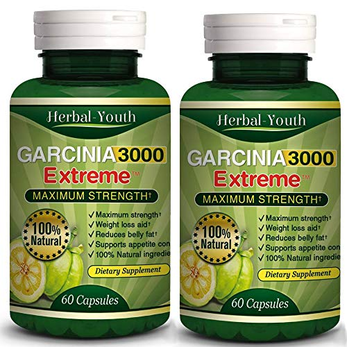 [New] 2 X Bottles-3000mg Daily Garcinia Cambogia HCA 95% Weight Loss Diet Slim, Powerful New Garcinia Cambogia Extract, Maximum Strength Natural Weight Loss Supplement Appetite Suppressant Fat Burner