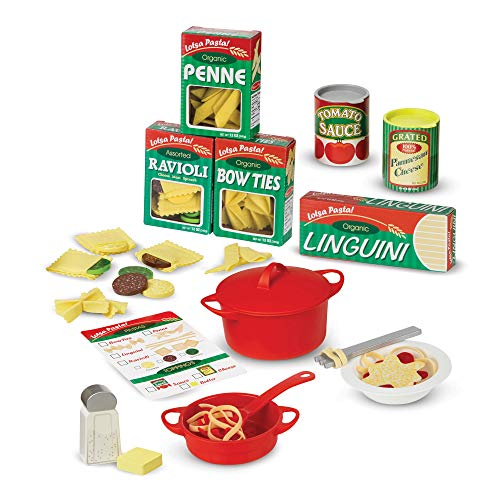 "Melissa & Doug Prepare & Serve Pasta (Pretend Play, Felt Kitchen Set, Easy to Use, 50+ Piece Set, 10"" H x 9"" W x 3"" L, Great Gift for Girls and Boys - Best for 3, 4, 5 Year Olds and Up)"