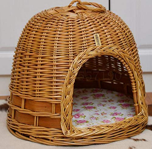 Kenneldoghouse Cathouse Willow Willow Art Vine Willow Wicker Summer verwijderbaar en wasbaar Pet House Dog House Pet 56X36X42 Cm