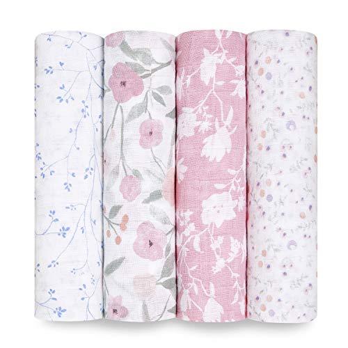 aden + anais 100% algodón Muselina Swaddle & Receiving Mantas para bebés y niños, 120 x 120 cm, Ideal para recién Nacidos y bebés, Regalo de Ducha, Paquete de 4, ma Fleur