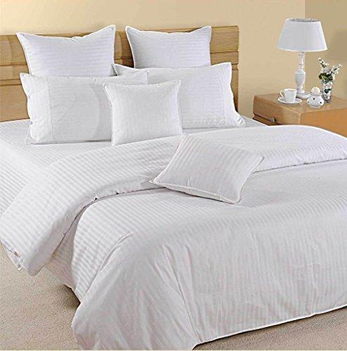 Juego de sábanas de 4 piezas de 1000 hilos con diseño de rayas, 100% algodón egipcio de alta calidad, algodón, Blanco, individual largo