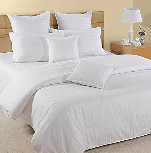 800hilos–juego de sábanas (blanco rayas, UK King Size150X 200cm (5ft x 6ft 6in), tamaño de bolsillo 42cm) 100% algodón egipcio Premium calidad