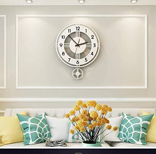 relojes de pared para barra/café/oficina/dormitorios/sala de estar gran reloj de pared metal péndulo reloj@plata blanco