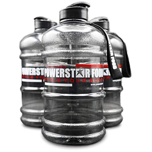 POWERSTAR FOOD Botella de agua XXL, 2,2 litros, color negro, con asa, correa de transporte y apertura adicional en el cierre, para gimnasio, fitness y entrenamiento, sin BPA