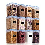 Vtopmart Airtight Food Storage Containers 12 Pieces 1.5qt / 1.6L- Plastic PBA Free Kitchen Pantry Storage...