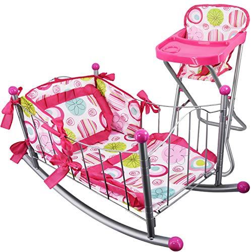 Dolls Feeding High Chair & Rocking Cradle Cot Set Dolls Furniture Accessories Pretend Play Girls Toy (High Chair & Rocking Cradle Set)