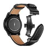 Myada - Correa de repuesto para Samsung Galaxy Watch de 46 mm, 22 mm, piel auténtica, correa deportiva de metal con hebilla de mariposa para Samsung Galaxy Watch 46 mm/Gear S3 Frontier/Classic