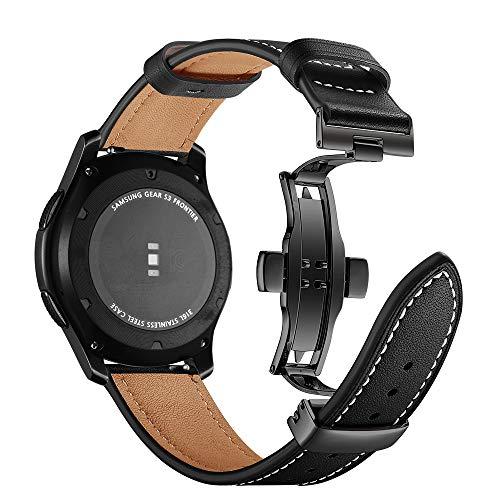 Myada Compatibel met leren armband Samsung Galaxy Watch 46 mm armband Gear S3 Frontier leer, SmartWatch armband 22 mm leer heren armbanden Samsung Gear S3 Classic echt leer reserveband sportarmband