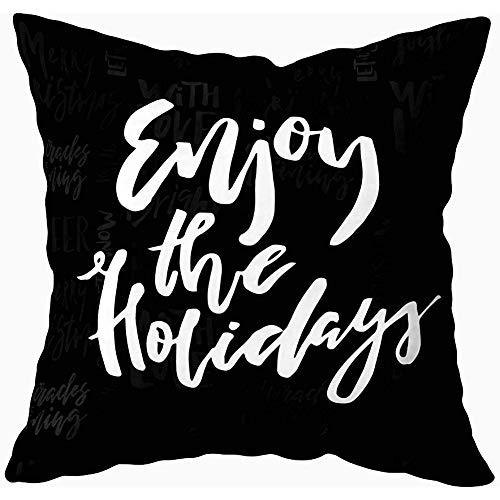 Eliuji kussenslopen 45X45cm, vrolijke kerstkaart kalligrafie genieten vakantie krijt sjabloon groeten bank kussenslopen, thuis
