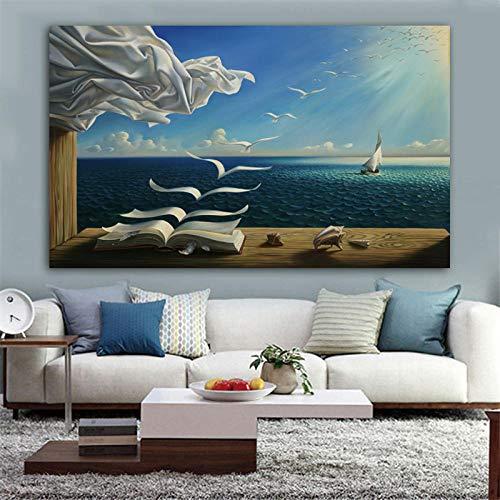 QianLei Salvador Dali Canvas Art Poster De Zee Golven Boek Zeilboot Foto Canvas schilderij Dagboek van Ontdekking door Vladimir Kush Wall Art 8x14Inch Only canvas core