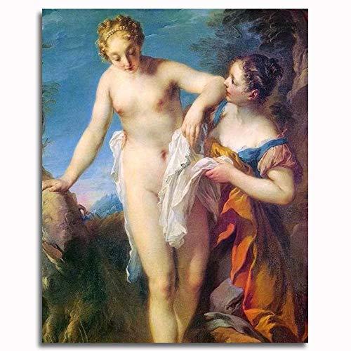 CELLYONE Peinture par numéros pour Adultes et Enfants Kits Cadeaux de Peinture à l'huile de Bricolage -Naked Woman Bathing 16*20 inch