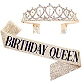 'Birthday Queen' Sash & Rhinestone Tiara Kit - 21st 30th Birthday Gifts Birthday Sash for Women Birthday Party Supplies (Gold Glitter with Black Lettering)