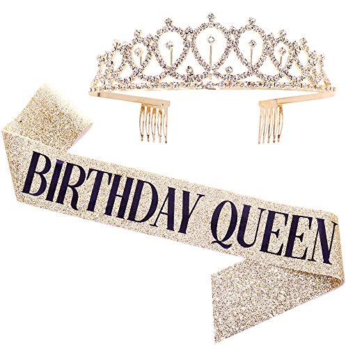 """Birthday Queen"" Sash & Rhinestone Tiara Kit - 21st 30th Birthday Gifts Birthday Sash for Women Birthday Party Supplies (Gold Glitter with Black Lettering)"