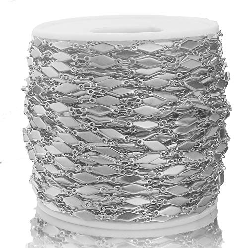 BOSAIYA PJ1 1m / Lote Acero Inoxidable Dorado 4x13mm Rhombus Cadenas Collares para Bricolaje Collar de joyería Pulsera Anklets Mots Tl0623 (Color : Steel)