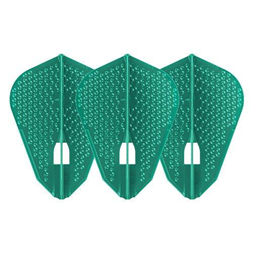 LSTYLE Dart Flights: L9d PRO Fantail Shape – Dimple Textur – für Soft Tip und Steel Tip Darts – Pacific Green