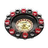 WELLGRO® Trinkspiel Roulette - mit 1 Roulette-Rad, 16 Schnapsgläser und 2 Spielkugeln - Party-Spaß, bei dem der Zufall entscheidet - 7
