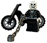 LEGO Ghost Rider Custom Minifigure with Chain Whip and Motorcycle