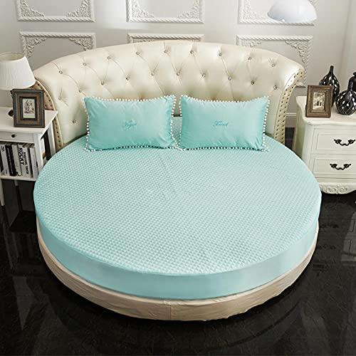 Imitación de seda de color sólido cama redonda sábanas ajustables hotel guesthouse protector de colchón redondo con funda de almohada-Diámetro: _220cm * 220cm + 28cm_depth (3 piezas) _Sky_blue