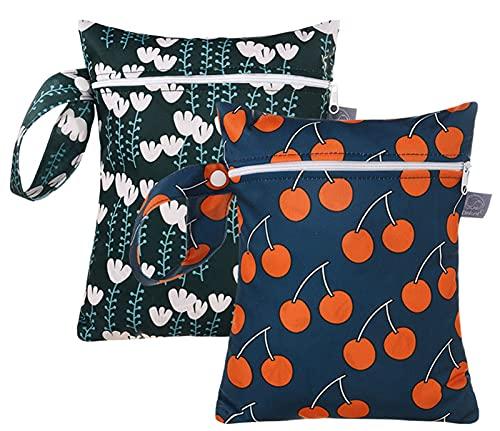 Maeau Bolsas húmedas para pañales de tela, bolsa para pañales, bolsa de pañales, bolsa para bebés, bolsa húmeda, 1/2 unidades, bolsa de ángulo para hombre y mujer, 2 unidades A10, 18*25 cm