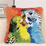 Kits de gancho de pestillo para adultos DIY Tiro de almohada Cubierta de almohada Patrón de loro colorido Patrón de costura Hand Craft Crochet Cross Stitch para una gran familia 17''x17 '', B crafts f