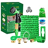 Running Bulls 100feet Expandable Garden Hose, Expanding hose pipes With Mixer Tap Connector/Hose Hanger/Storage Bag/ 3/4' Solid Fittings/Free 8 Function Spray Nozzle/for House/Car/Floor/Yard Wash
