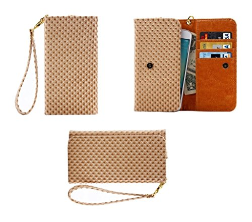 DFVmobile - Cover Premium Case with Design Pearl Grid Texture with Card Slots & Lanyard for Kingelon V3 - Beige