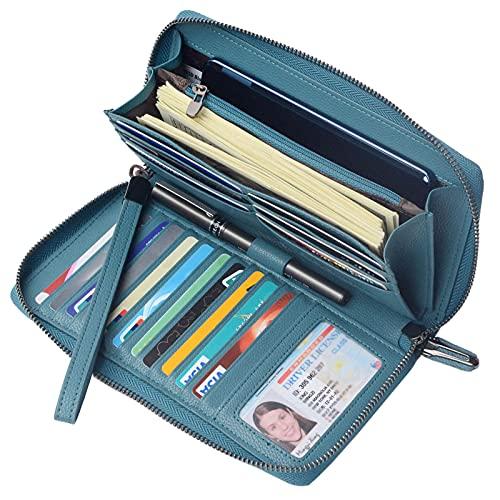 Portmonee Damen mit RFID Schutz Geldbeutel, Portemonnaie, Geldbörse, Brieftasche, Damengeldbeutel, Damengeldbörse lang groß viele fächer Leder Reissverschluss(See blau)