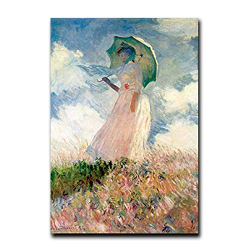 Xiangll Monet Mujer Con Sombrilla Pinturas En La Pared Chica Impresionista Arte De La Pared Impresiones En Lienzo Cuadros Cuadros Para Sala De Estar Impresión En Lienzo-50X70Cm Sin Marco