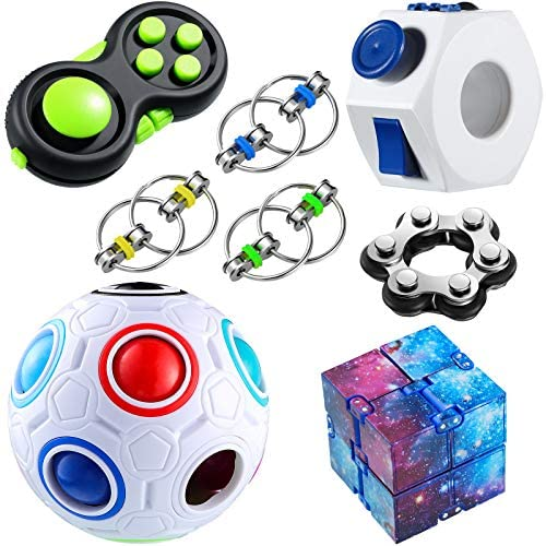 8 Pieces Handheld Fidget Toy Set Infinity Cube Six Roller Chain Rainbow Puzzle Ball Fidget Ring product image