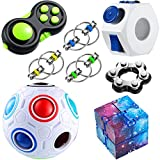 8 Pieces Handheld Fidget Toy Set Infinity Cube, Six Roller Chain, Rainbow Puzzle Ball, Fidget Ring, Fidget Controller Pad Relaxing Toys Fun Fidgeting Game for OCD ADHD Autism for Boys Girls Adults