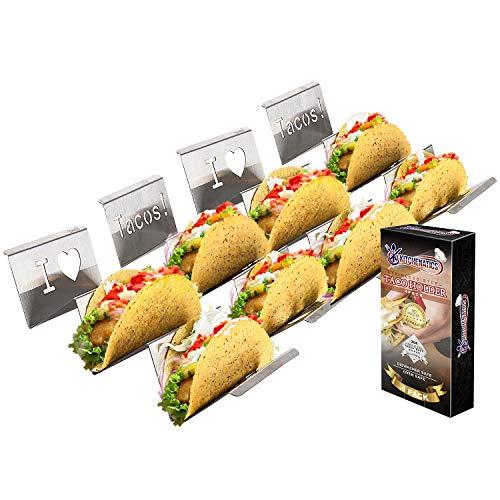 Edelstahl Taco Halter: 4 Taco Ständer zum Servieren von Weichen und Harten Food Truck Style Tacos - Geeignet für Grill, Backofen – Spülmaschinenfest - Taco-Halter - Ideal für Kinder und Partys