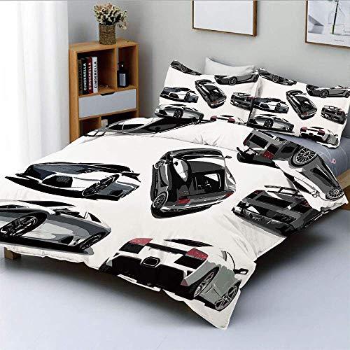 Juego de funda nórdica, automóviles grises desde varios ángulos Industria del automóvil Tema de conducción de las ruedas del vehículo Juego de cama decorativo de 3 piezas con funda de almohada 2, gris