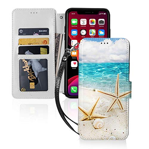 Beach with Starfish and Seashells for iPhone 11 Wallet Case with Card Holder, Kickstand Function, TPU Durable Shockproof, PU Leather Magnetic Closure Protective Flip Cover Case for 2019 iPhone