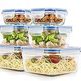Paquete de 6 contenedores de vidrio para almacenamiento de alimentos, con tapas herméticas, sin BPA, contenedores cuadrados para preparación de comidas