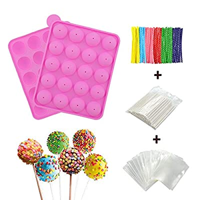 BPA Free Silicone Cake Pop Mold, Ball Shaped Mold with 100 Treat sticks+100 Parcel Bags+100 Colorful Metallic Wire for Candy, Chocolates, Lollipop, Cake Pops by