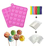 BPA Free Silicone Cake Pop Mold, Ball Shaped Mold with 100 Treat sticks+100 Parcel Bags+10...