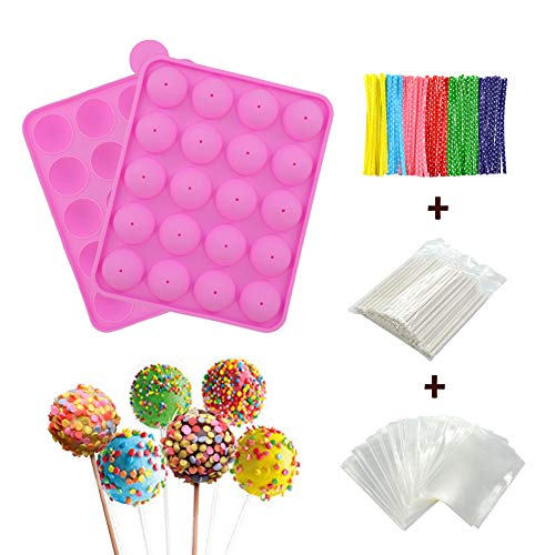 BPA Free Silicone Cake Pop Mold, Ball Shaped Mold with 100 Treat sticks+100 Parcel Bags+100 Colorful Metallic Wire for Candy, Chocolates, Lollipop, Cake Pops