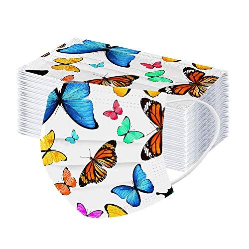 RUITOTP 10/50pc Frauen Männer Universal Gesicht Protector Mode Einweg 3Ply niedlich Schmetterling gedruckt Ohr Schleife Halb Schal Bandanas