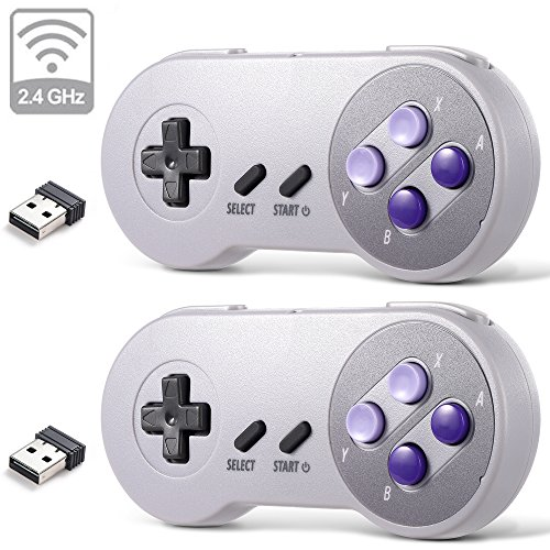 2 Pack 2.4 GHz Wireless USB Controller Compatible with Super NES Games, iNNEXT SNES Retro USB PC Super Classic Controller for Windows PC MAC Linux Genesis Raspberry Pi Retropie (Purple / Gray)