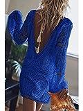 Verano Pareo Playa Mujer Cuello,Blusa Holgada de Playa Holgada con Perspectiva de Mujer, Falda de Encaje con Cuello en V de Manga Larga-Azul_M,para Mujer Cubierta de Playa Ups