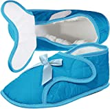 Womens Edema Slippers for Swollen or Bandaged Feet Size XL (11-12), Aqua