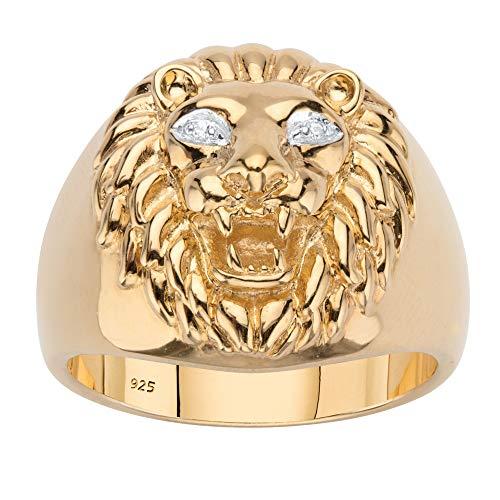 Men's 18K Yellow Gold over Sterling Silver Genuine Diamond Accent Lion Head Ring Size 8