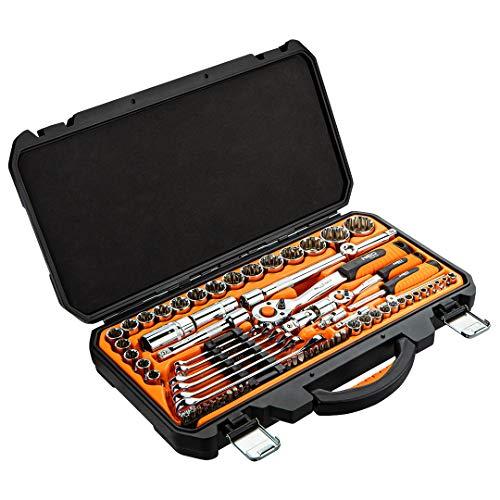 Neo Tools Juego de 71 llaves de vaso, en maletín rígido de plástico, puntas cuadradas de 1/4' y 1/2' de acero CrV, destornillador de acero S2