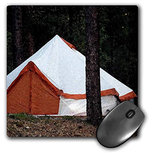 3dRose Jos Fauxtographee- Tent - an Orange and White Tent Set up for Camping Near a Tree - Mousepad (mp_320066_1)