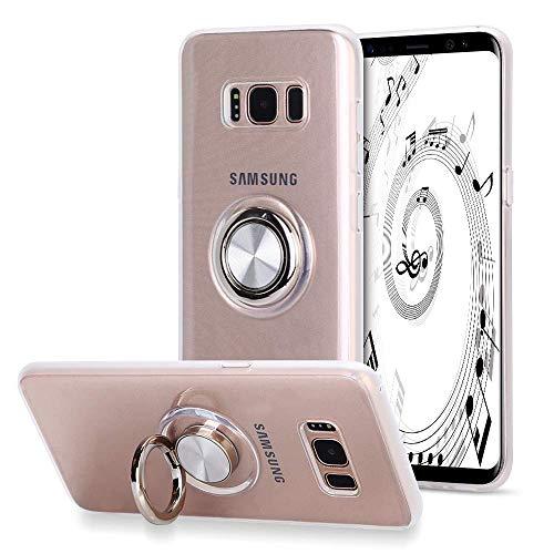 SORAKA Cover trasparente per Samsung Galaxy S8+/S8 Plus con anello rotante a 360 gradi e piastra metallica per Supporto Auto Smartphone Magnetico,Custodia in TPU trasparente Ultrasottile