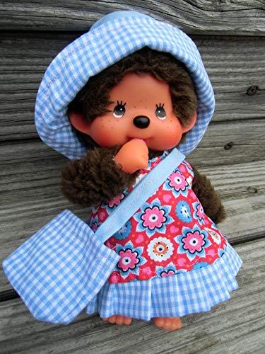 Puppenkleidung handmade für MONCHICHI Gr. 20 cm MONCHHICHI Kleid + Hut + Täschchen Bekleidung Blümchen blau NEU