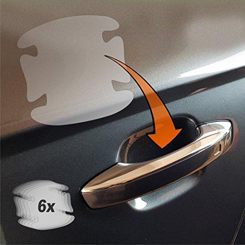 6er Set Lackschutzfolien für Auto Türgriffe und Griffschalen Griffmulden und Türgriffmulden transparent 150µm 6teilig