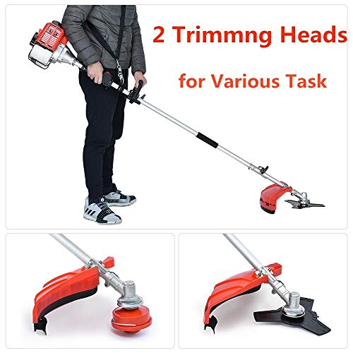 Best Price! Ezcheer Extendable 42.7CC 4 in 1 Multi Tool Dual Line Gas String Trimmer Brush Cutter At...