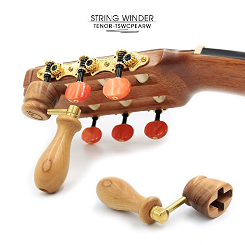 """PEAR"" Handcrafted Wooden Guitar String Winder by Tenor. Designed For Classical, Flamenco, Acoustic, Electric Guitars and Ukuleles. Made Of Solid Handpicked PEAR Wood. Beautiful Vintage Look."